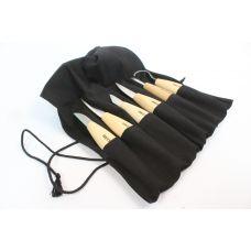 Набор резчицкий ПЕТРОГРАДЪ №2, 5 ножей + 1 стамеска в сумке-скрутке