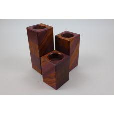 Комплект из трех лакшери подсвечников, полоски: бубинго, амарант