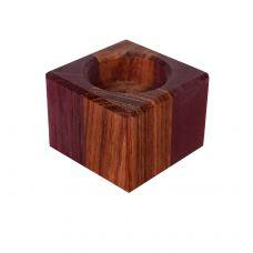 Подсвечник маленький, шашечка: амарант, бубинго 6х6х4,5см