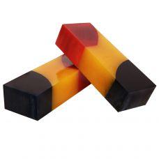 Береза гибрид в цветах синий, желтый, красный, заготовка для рукояти ножа