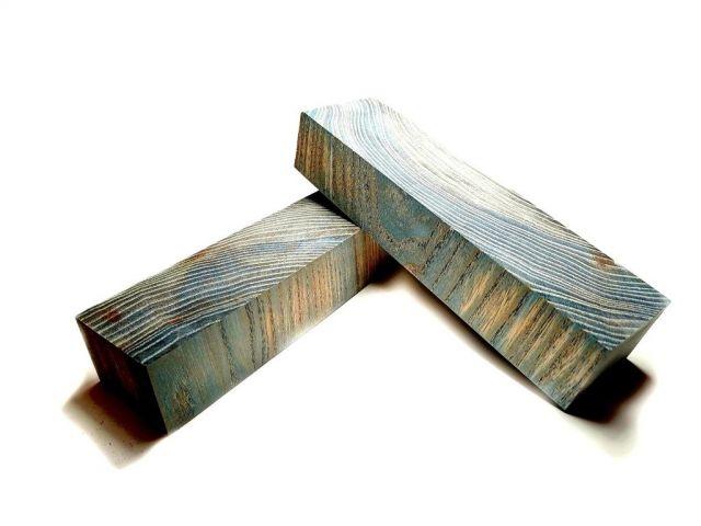 Карагач стаб. торцевой, синий, 175 мм, заготовки для рукоятей ножей