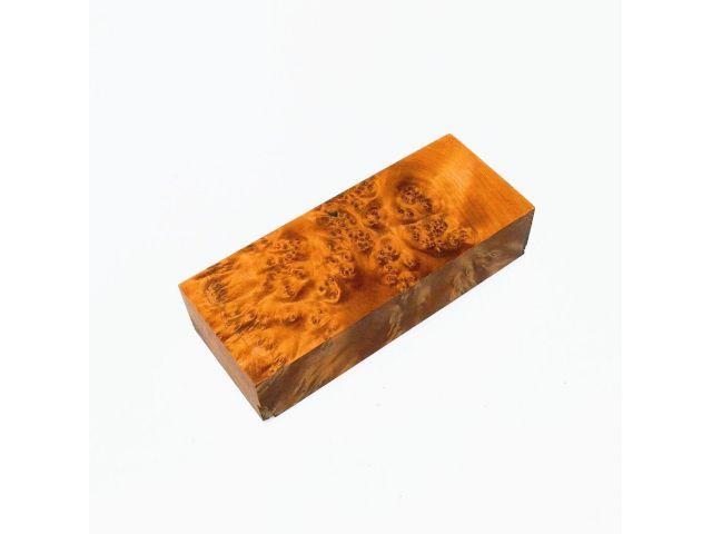 Кап березы стабилизированный оранжевый, заготовка для рукояти ножа