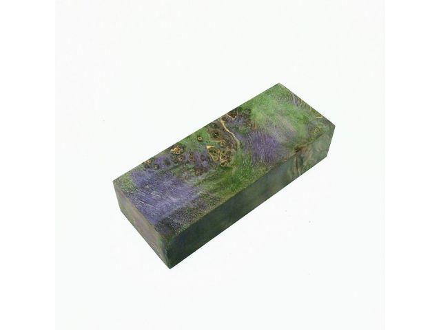 Кап березы стабилизированный фиолетово-зеленый, заготовка для рукояти ножа