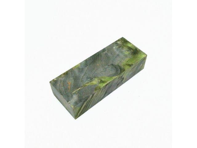 Кап березы стабилизированный черно-зеленый, заготовка для рукояти ножа