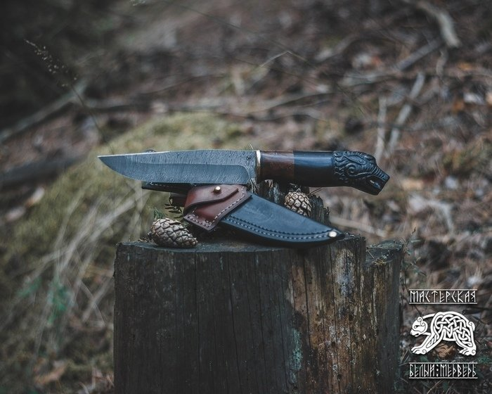 Пример ножа с клинком из дамасской стали