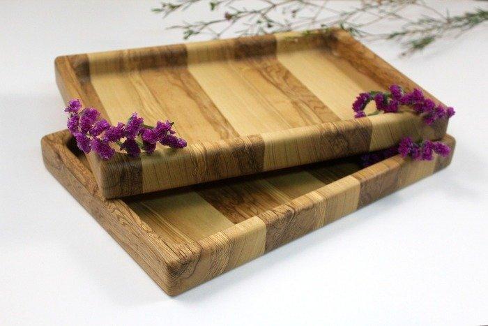 Пример деревянного подноса, вырезанного фрезой