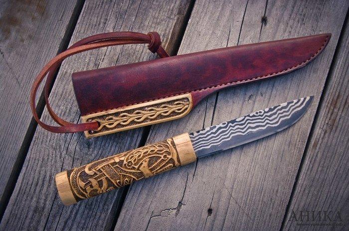 Пример резьбы на рукояти ножа из самшита