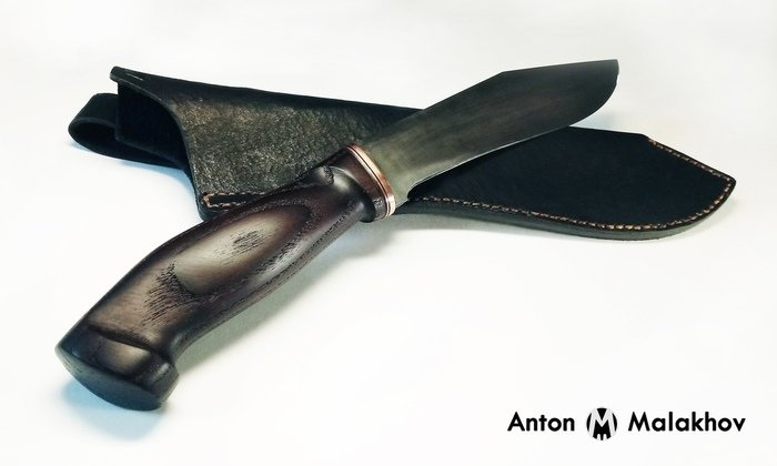 Пример рукояти ножа из древесины термообработанного ясеня