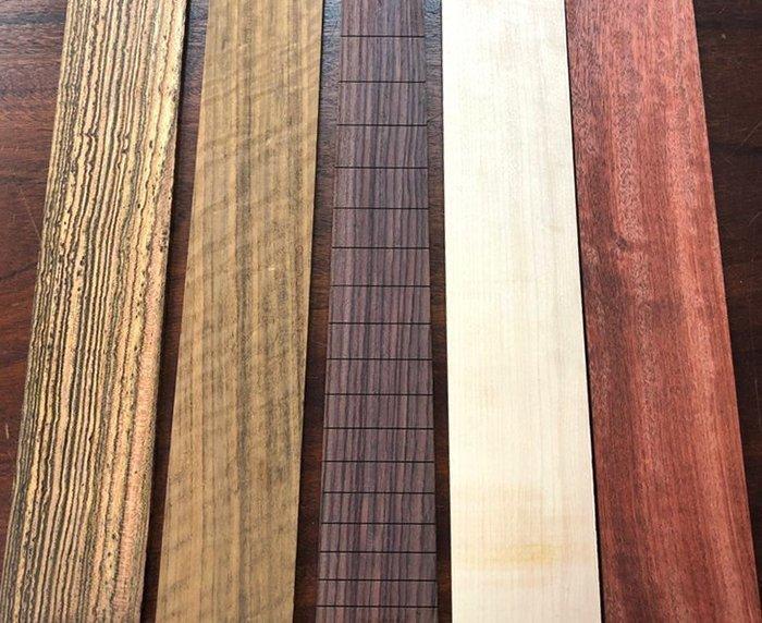 заготовки на накладки грифа бас-гитары экзотических пород древесины
