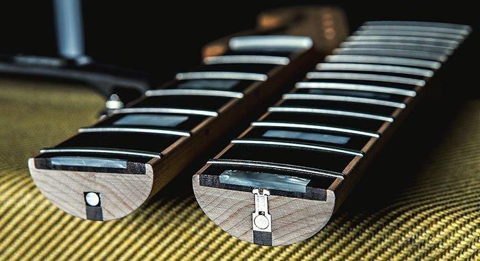 строение грифа бас-гитары в разрезе