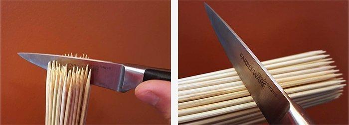 схематичное изображение влияния направления волокон доски на лезвие ножа