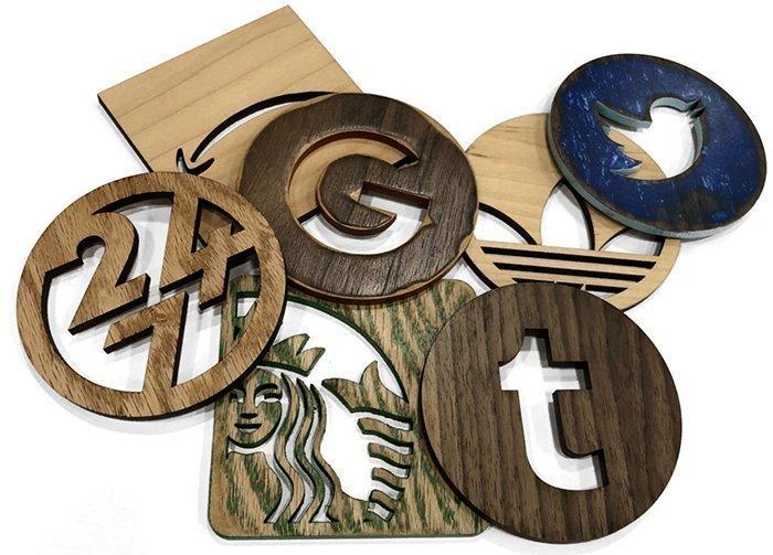костер логотипы из дерева и фанеры