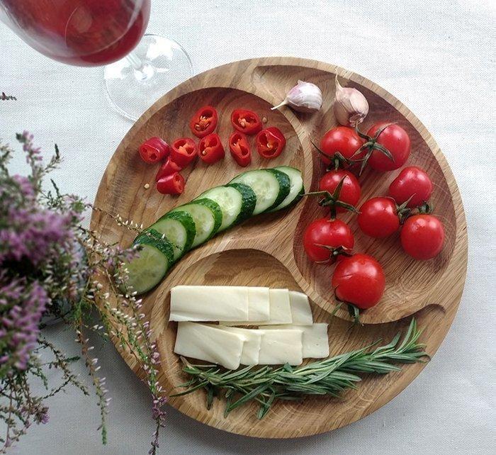 менажница для подачи блюд из дерева