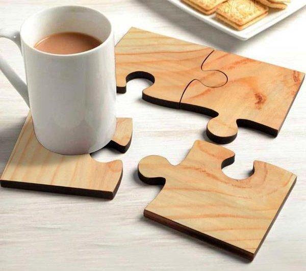 деревянные подставки для кружек в форме пазла