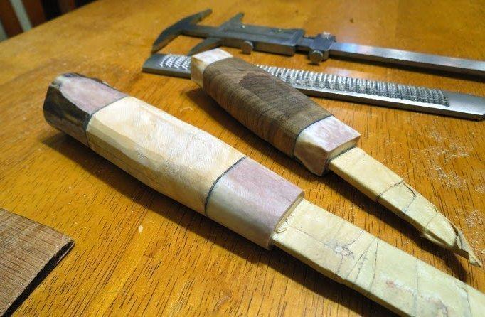 деревянная рукоять ножа с всадным монтажом