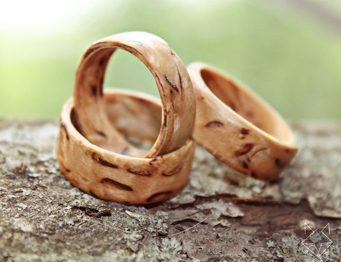 кольца из шпона карельской березы