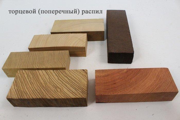 Торцевой или поперечный распил древесины
