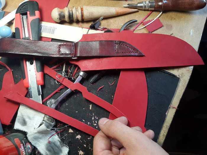 Пришивание подвеса для ножен