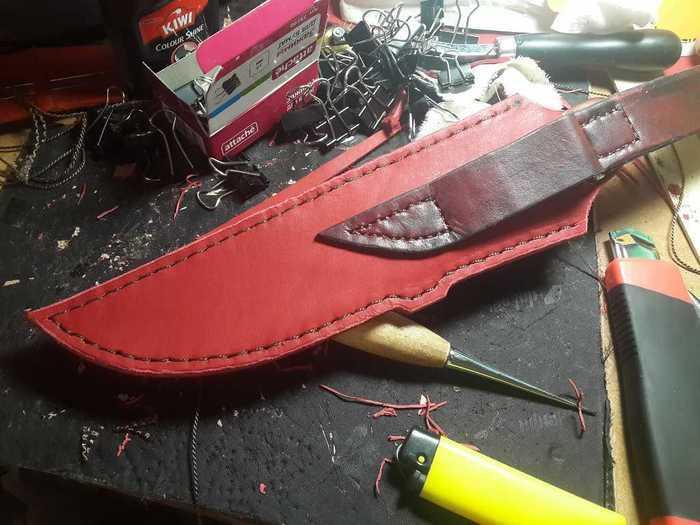 Сшивание частей кожаных ножен