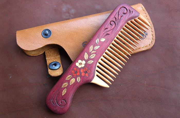 деревянная расческа для волос из древесины венге и груши