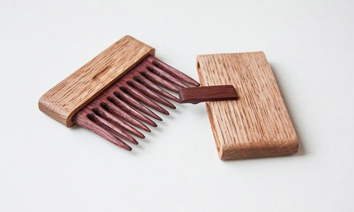гребень для волос из древесины американского красного дуба и амаранта