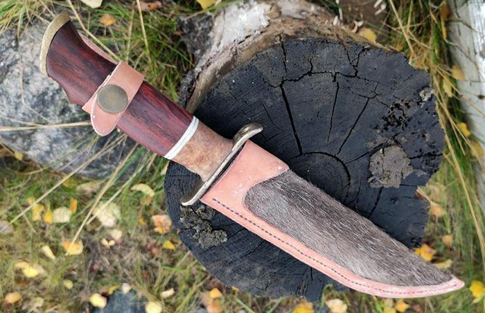 нож с рукоятью из древесины бубинго