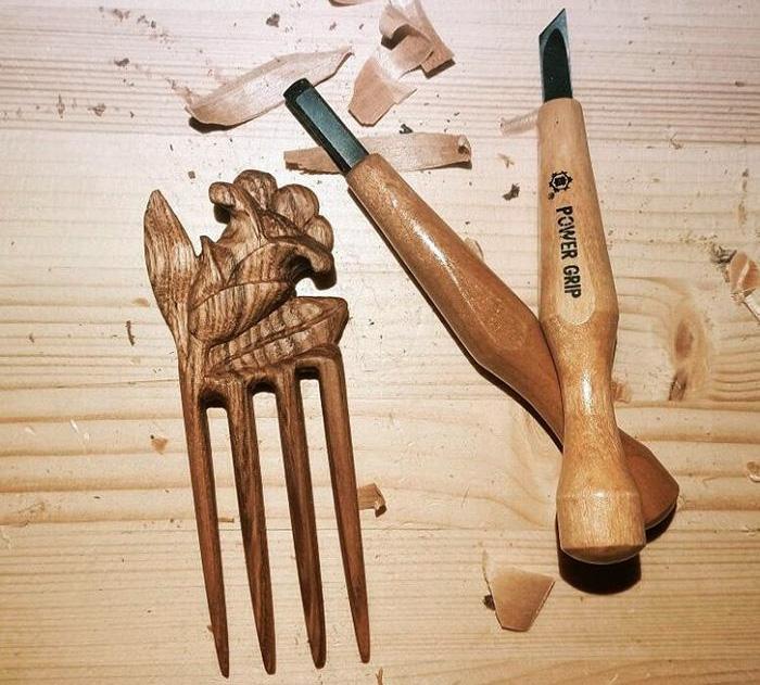 шпилька для волос из древесины ясеня