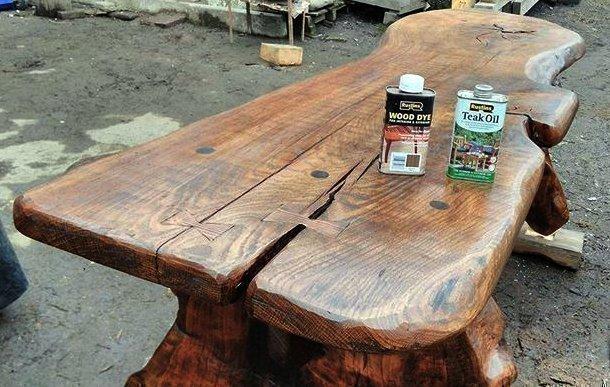 Покрытие стола тиковым маслом от Rustins