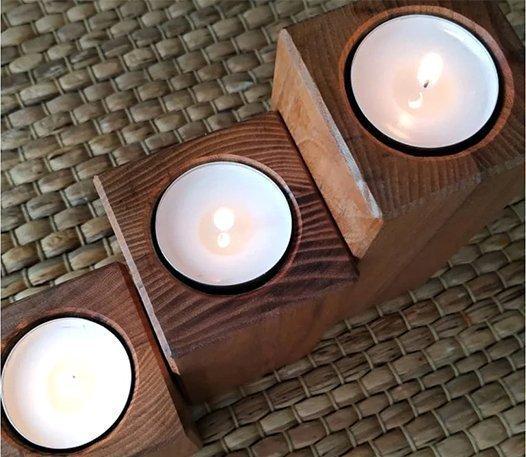 комплект деревянных подсвечников под чайную свечу