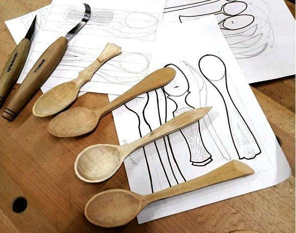 Изготовление ложек с помощью ручных резцов и ложкореза